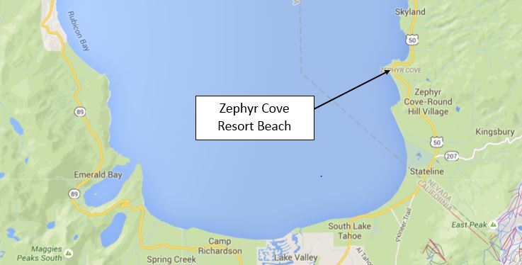 Zephyr Cove Resort South Lake Tahoe Beaches map to