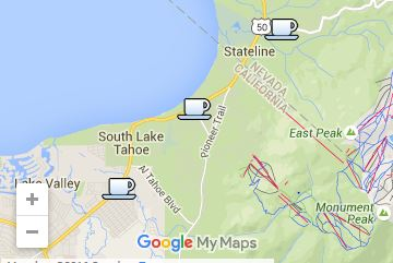 Locations of 3 Red Hut Cafes in the Tahoe Basin.