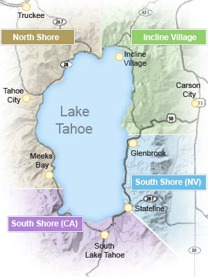 Three Tahoe 'bases' - South Lake Tahoe, Incline Village/Kings beach, and Tahoe City.